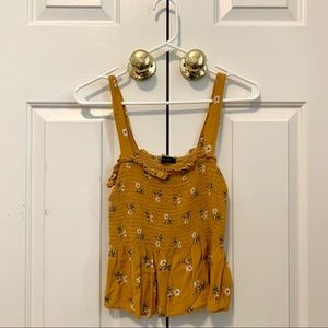 AE Yellow Floral Smocked Tank Top